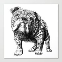 english bulldog Canvas Prints featuring English Bulldog by BIOWORKZ