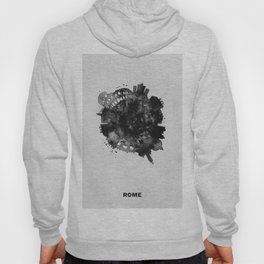 Rome, Italy Black and White Skyround / Skyline Watercolor Painting Hoody