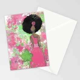 Dripping Pink and Green Angel Stationery Cards