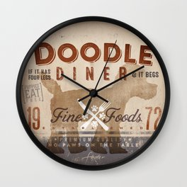 Doodle Diner Dog Kitchen artwork by Stephen Fowler Wall Clock