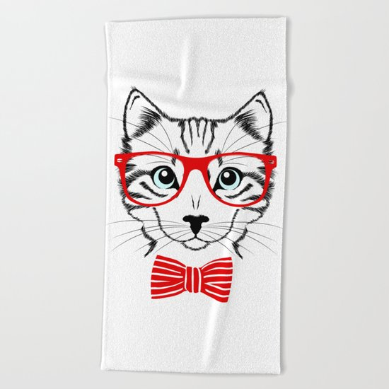 Hipster Cat with Red Glasses Beach Towel