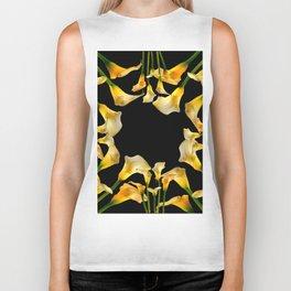 Golden Calla Lilies Black Garden Art Biker Tank