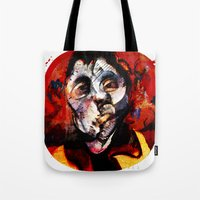 boxing Tote Bags featuring Boxing Bacon by Genco Demirer