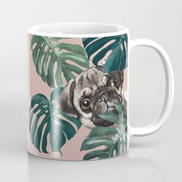 Pug with Monstera Leaf Coffee Mug