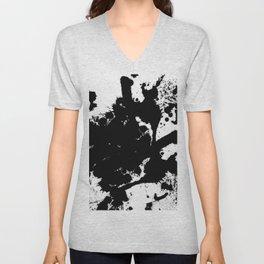 Black and white splat - Abstract, black paint splatter painting Unisex V-Neck