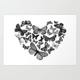 BUTTERFLY LOVE MONO Art Print