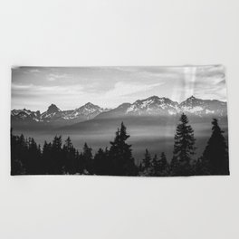Morning in the Mountains Black and White Beach Towel