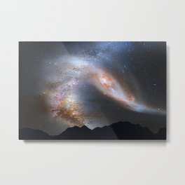 Andromeda and Milky Way in the night sky Metal Print