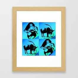 Kimmie with Pig blue Framed Art Print