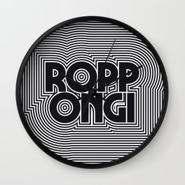 Tokyo Roppongi Black & White Outline Text Pattern Wall Clock