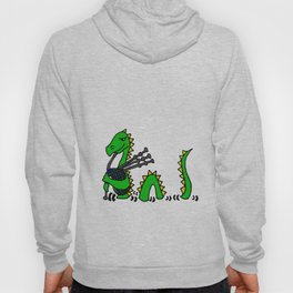 Funny Loch Ness Monster Playing Blue Bagpipes Art Hoody
