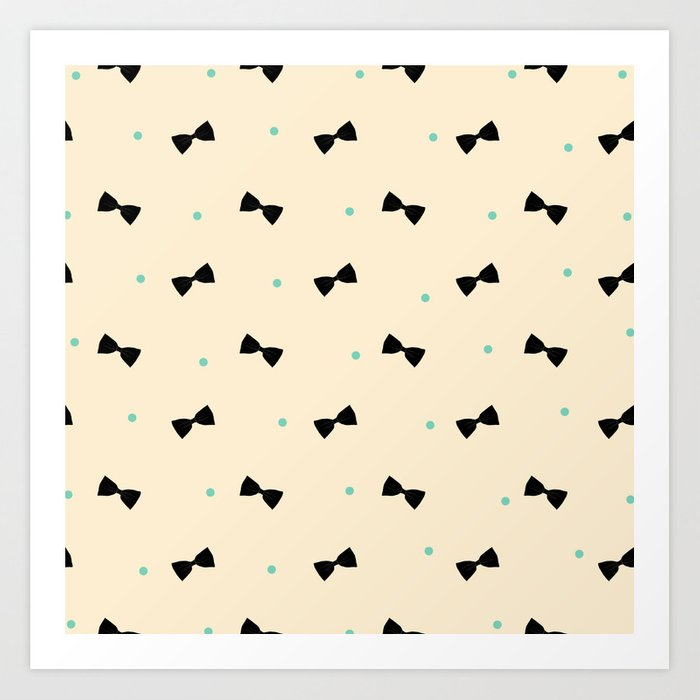 Bows and Dots (Cream Mint) Art Print