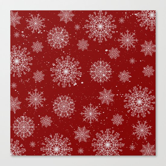 Assorted White Snowflakes On Red Background Canvas Print