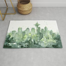 Seattle Watercolor Painting Rug