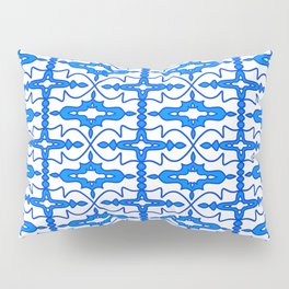 Cool Blue and White Country Saloon Wallpaper Molding Southwestern Design Pattern Pillow Sham