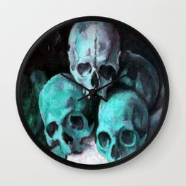 Haunted Halloween Pyramid of Skulls Wall Clock