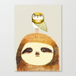 Sloth and Owl. Canvas Print