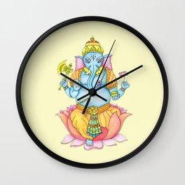 Zentange Ganesh colorful on yellow Wall Clock