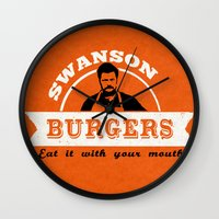 swanson Wall Clocks featuring Swanson Burgers by ThePencilClub