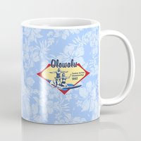 surfboard Mugs featuring Tandem Surfing Hawaiian Surfboard and Pareau Designs by Drive Industries
