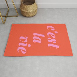 C'est La Vie French Language Saying in Bright Pink and Orange Rug