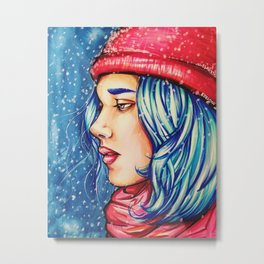 Snowy Winter Night Metal Print