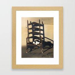 Cat In Wicker Chair Framed Art Print