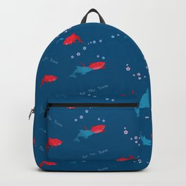 Blue Dolphin and Red Shark Backpack