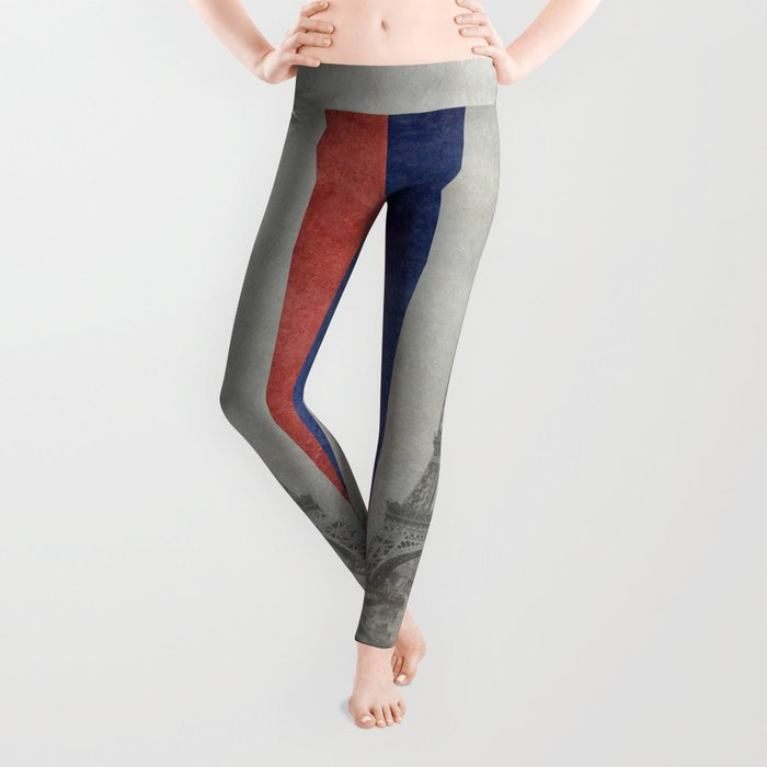 Flag of France with Eiffel Tower Leggings