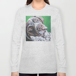 GSP German Shorthaired Pointer dog portrait art from an original painting by L.A.Shepard Long Sleeve T-shirt