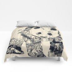 Tattooed Panda {cream} Comforters