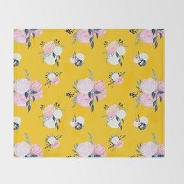 Spring Florals on Mustard Yellow Throw Blanket