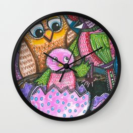 Birth of chick and owl. Little bird Wall Clock