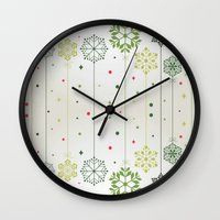 deco Wall Clocks featuring Holidays Deco by Elena Indolfi