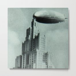 1928 Dirigible Patoka docking at the observation deck atop the Superman building in Providence RI Metal Print