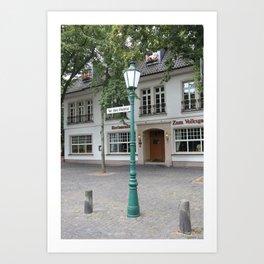 Zons - Straßenlaterne vor dem Rheintor Art Print