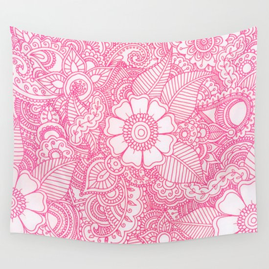 Pink Wall Tapestry henna design - pink wall tapestryhaleyivers | society6