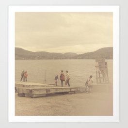 Children playing on a sepia-tone lakeshore Art Print