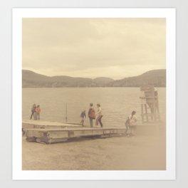 Children playing on a sepia-tone lakeshore Art Print