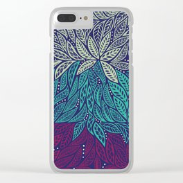 Polynesian floral blue purple tattoo design Clear iPhone Case