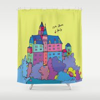 castle Shower Curtains featuring castle by PINT GRAPHICS