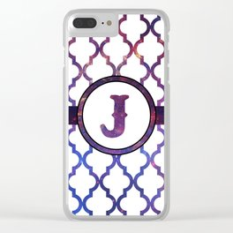 Galaxy Monogram: Letter J Clear iPhone Case