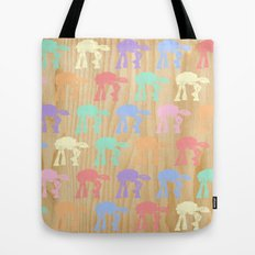 Pastel AT-AT's on Wood Tote Bag
