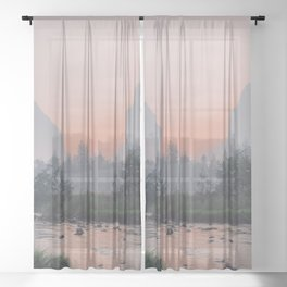 Yosemite Valley Sunrise Pretty Pink Sheer Curtain
