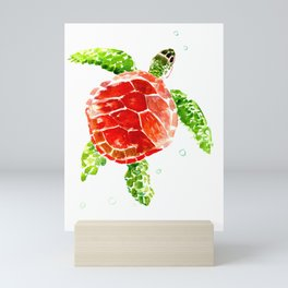 turtle, swimming turtle design red-green turtle art Mini Art Print