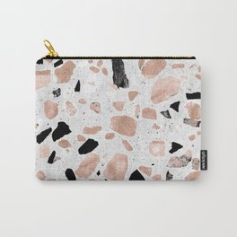 Classy rose gold vintage marble abstract terrazzo design Carry-All Pouch