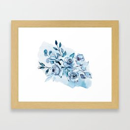 Indigo roses. Watercolor hand painting. Framed Art Print