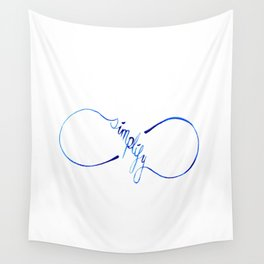 Simplify to Infinity Typography in Blue Wall Tapestry