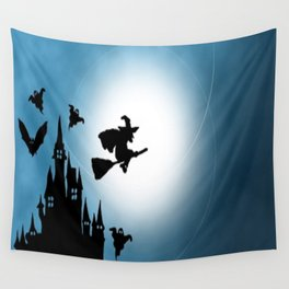 Blue Halloween Witch Silhouette Wall Tapestry