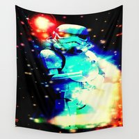 storm trooper Wall Tapestries featuring STORM TROOPER by shannon's art space